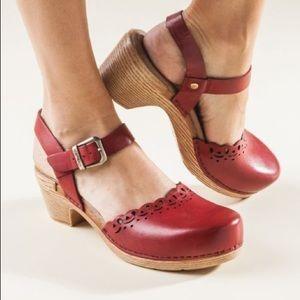 Dansko Marta Ankle Strap Red Leather Clog Sandals